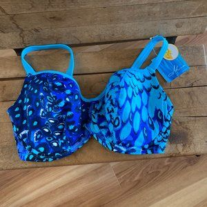 Mia Amoena Turquoise & Blue Swim Top Sz 8DDD